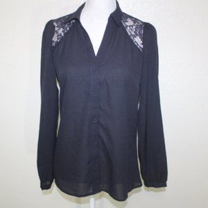 The Limited Semi Sheer Lace Trim Button Front Top